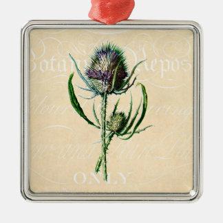 Wildflower de la antigüedad del cardo del escocés adorno navideño cuadrado de metal