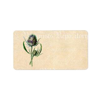 Wildflower de la antigüedad del cardo del escocés etiqueta de dirección