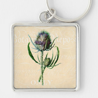 Wildflower de la antigüedad del cardo del escocés  llavero cuadrado plateado