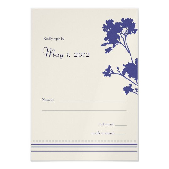 Wildflower Elegance RSVP- Silver/Navy Card
