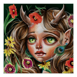 WildFlower Faerie Nymph Pop Surrealism Poster