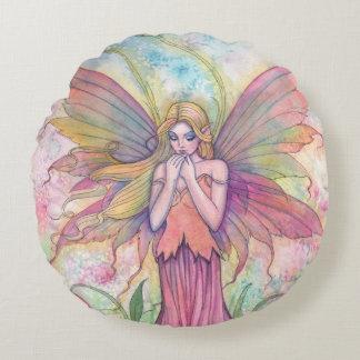 Wildflower Fairy Fantasy Art Round Pillow