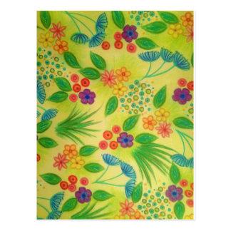 WILDFLOWER FANCY 3 - Cheerful Fresh Green Lovely Postcard