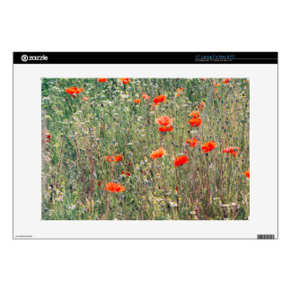 """Wildflower Field and Red Poppies Blooming Skin For 15"""" Laptop"""