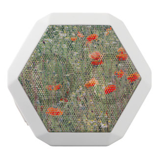 Wildflower Field and Red Poppies Blooming White Bluetooth Speaker