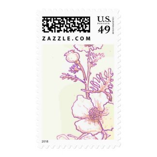Wildflower Floral Poppy sketch Postage stamps