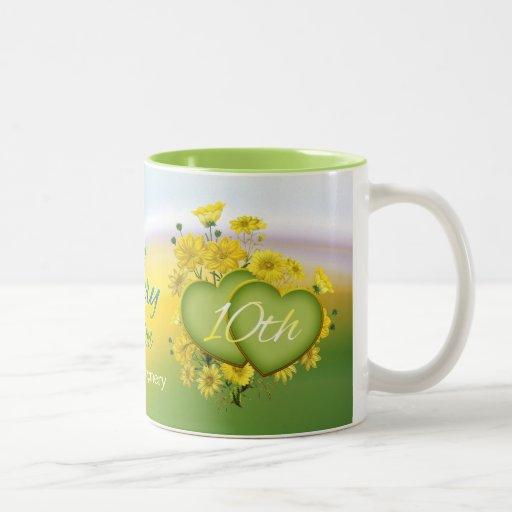 Alternative 10th Wedding Anniversary Gifts : Wildflower Hearts 10th Wedding Anniversary Party Two-Tone Coffee Mug ...