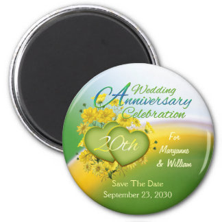 Wildflower Hearts 20th Wedding Anniversary Party Magnet