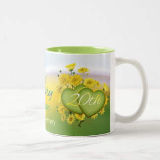 Wildflower Hearts 20th Wedding Anniversary Party Two-Tone Coffee Mug