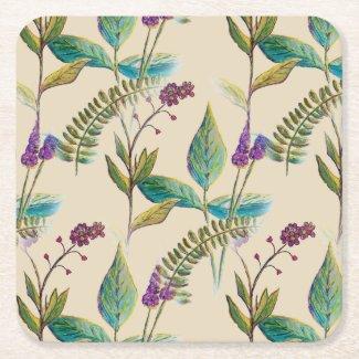 Wildflower Illustration on Drink Coasters