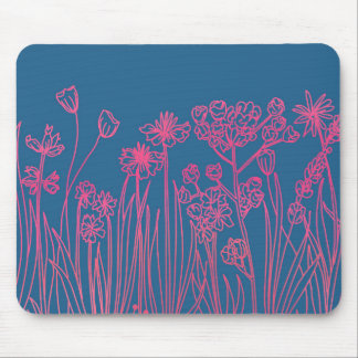 Wildflower Line Drawing | Flower Mouse Pad