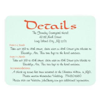Wildflower Mint Green Floral Wedding Details Car 4.25x5.5 Paper Invitation Card