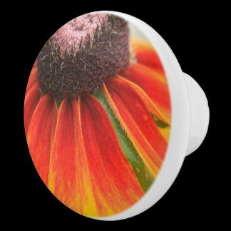 Wildflower Orange Yellow Custom  Kitchen Knob /