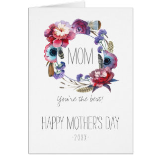 Wildflower Peony Floral with Feathers Mother's Day Card