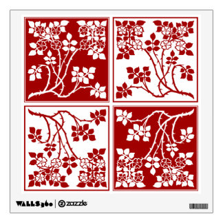 Wildflower Red White Tiled Pretty Floral Checkered Wall Decal