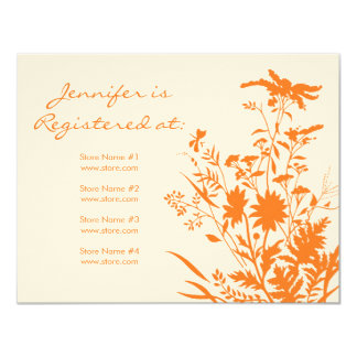 "Wildflower Registry Card - 4.25"" x 5.5"" Custom Invite"
