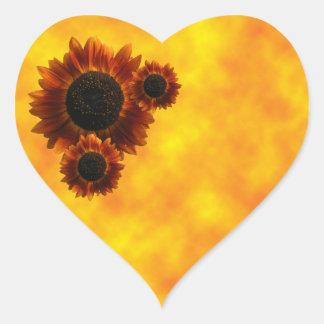 Wildflower Sunflowers Heart Sticker