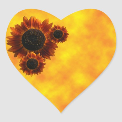 Wildflower Sunflowers Heart Sticker