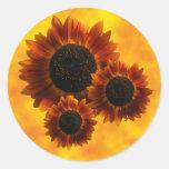 Wildflower Sunflowers Round Stickers
