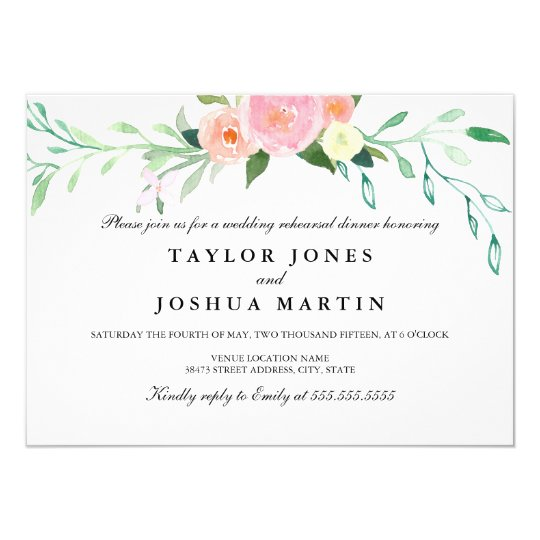 Wildflower Watercolor Rehearsal Dinner Invite  ZazzleCom