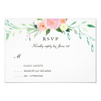 Wildflower Watercolor Wedding RSVP Card