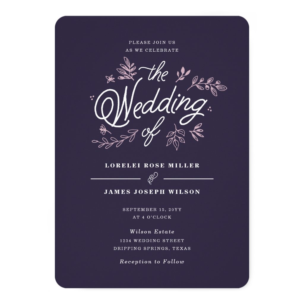 Rustic Purple Wedding Invitation with Wildflowers