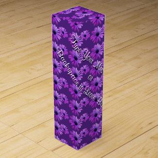 Wildflower Wine Box Custom Purple Daisies Wine Box