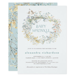 Wildflower Wreath with Butterfly | Baby Sprinkle Card