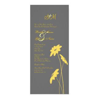 Wildflowers amarillos y grises que casan la invitación 10,1 x 23,5 cm
