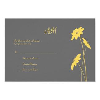 Wildflowers amarillos y grises que casan RSVP Comunicados