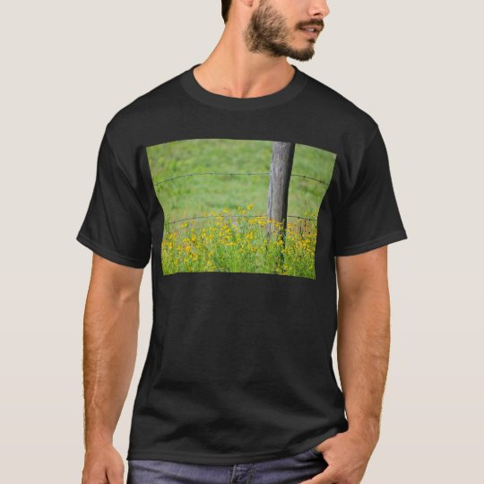 Wildflowers and Barbed Wire Fence T-Shirt