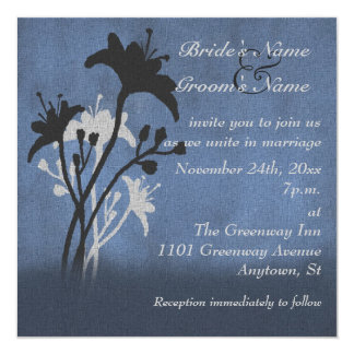 Wildflowers and Blue Grunge Wedding Invitation