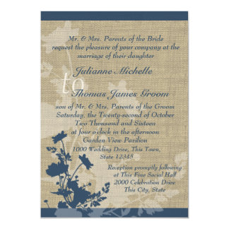 Wildflowers and Burlap Wedding 5x7 Paper Invitation Card