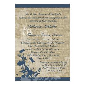 Wildflowers and Burlap Wedding 5x7 Paper Invitation Card