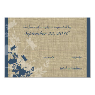 Wildflowers and Burlap Wedding Response 3.5x5 Paper Invitation Card