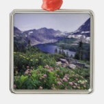 Wildflowers and Hidden Lake, Shrubby Square Metal Christmas Ornament