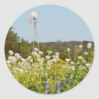 Wildflowers And Windmill In Texas Hill Country Classic Round Sticker