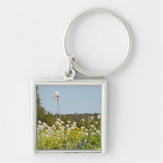 Wildflowers And Windmill In Texas Hill Country Keychains