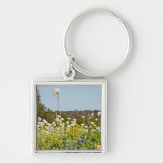 Wildflowers And Windmill In Texas Hill Country Key Chain