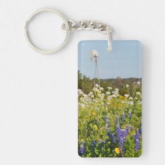 Wildflowers And Windmill In Texas Hill Country Double-Sided Rectangular Acrylic Keychain
