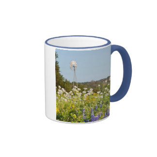 Wildflowers And Windmill In Texas Hill Country Coffee Mug