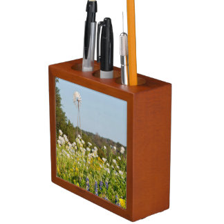 Wildflowers And Windmill In Texas Hill Country Pencil/Pen Holder