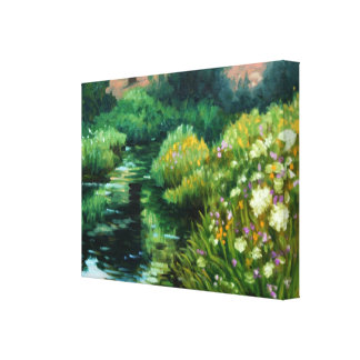 Wildflowers and yarrow by the stream linen print stretched canvas print