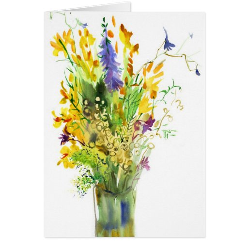 Wildflowers. Art card.