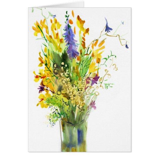 Wildflowers. Art card. Card