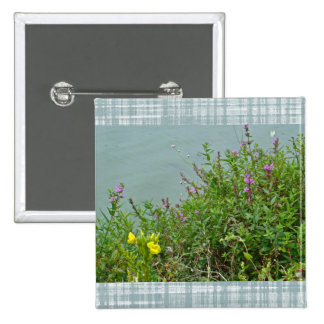 Wildflowers at Green Lane Reservoir 2 Inch Square Button