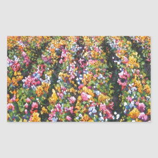 wildflowers at sunset rectangle stickers