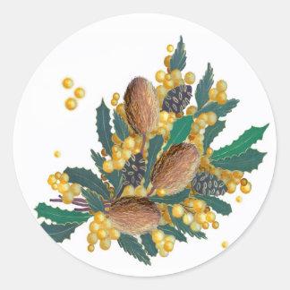 Wildflowers australianos - Banksia Pegatina Redonda