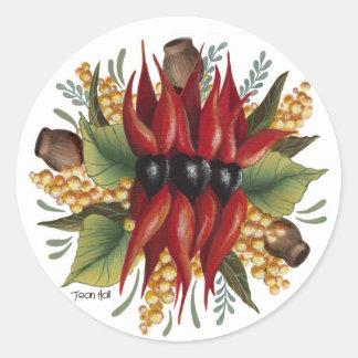 Wildflowers australianos - guisante de desierto de etiqueta redonda