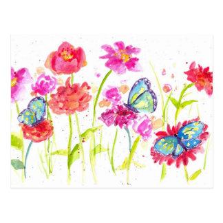 Wildflowers azules del rosa de la postal de las